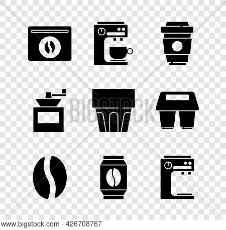 Set Bag Of Coffee Beans, Coffee Machine, Cup To Go, Manual Grinder And Glass With Water Icon. Vector