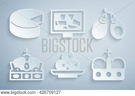Set Olives On Plate, Castanets, Crown Of Spain, Picture Art And Cheese Icon. Vector