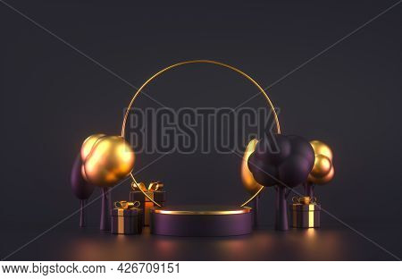 3d Podium Scene With Gift Boxes And Trees. Design For Seasonal Autumn Sales. 3d Rendering Illustrati