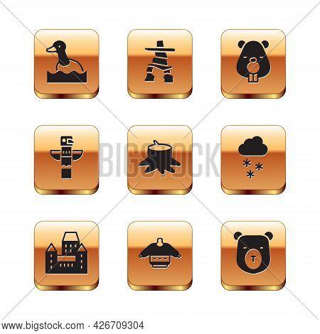 Set Flying Duck, Chateau Frontenac Hotel, Christmas Sweater, Tree Stump, Canadian Totem Pole, Beaver