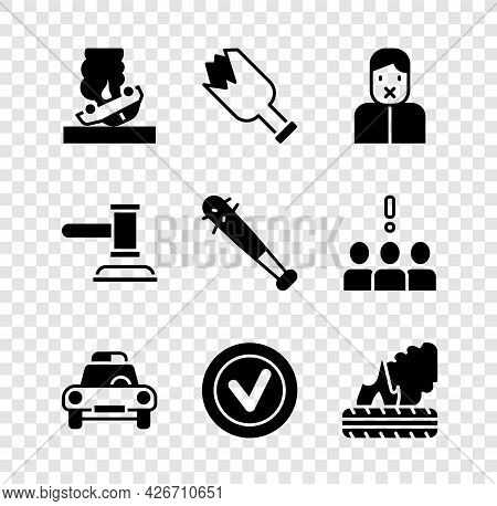 Set Burning Car, Broken Bottle As Weapon, Censor And Freedom Of Speech, Police Flasher, Check Mark R
