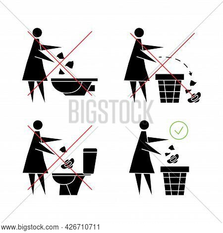 Do Not Flush Sanitary Towels In The Toilet. Do Not Throw Items Down The Lavatory. Woman Flushing San