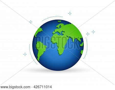 Colorful Illustration Of The Planet Earth With Green Continents And Blue Ocean.