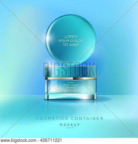 Elegancy Jar For Cream. Elegant Cosmetics Packaging Mockup. Template For Cosmetics Container.
