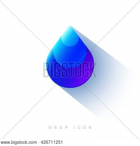Drop Icon. Water Drop Emblem. Clear Water And Clean Environment Symbol. Water Emblem For Label, Pack