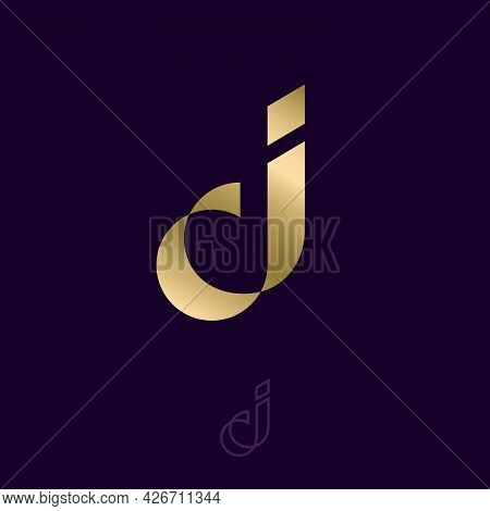 J Origami Logo. J Gold Letter Like Silk Ribbon Or Paper Strip.   Luxury Logo Can Be Use For Business