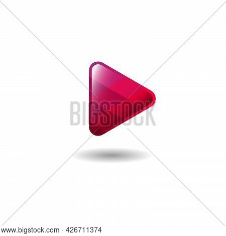 Player, Audio Or Music Player Icon. Audio And Video Emblem. Active, Rounded Triangle With Facets And
