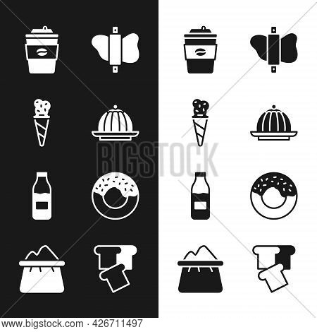 Set Pudding Custard, Ice Cream Waffle Cone, Coffee Cup To Go, Rolling Pin Dough, Bottle With Milk, D