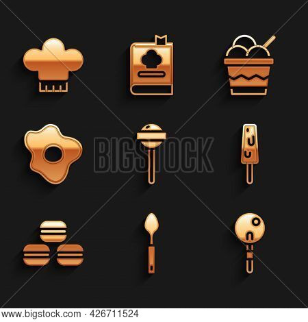 Set Lollipop, Spoon, Ice Cream, Macaron Cookie, Scrambled Eggs, In Bowl And Chef Hat Icon. Vector