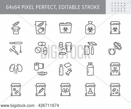 Medical Waste Devices Line Icons. Vector Illustration Include Icon - Glove, Mask, Biomedical, Toxic,