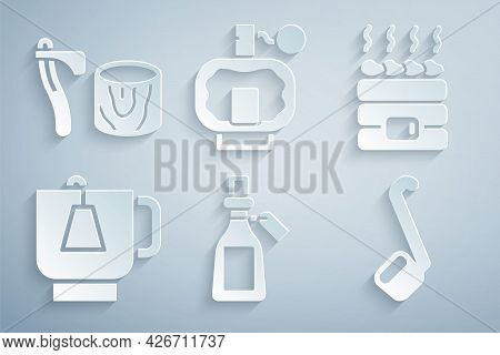 Set Essential Oil Bottle, Hot Sauna Stones, Cup Of Tea With Tea Bag, Sauna Ladle, Aftershave And Woo