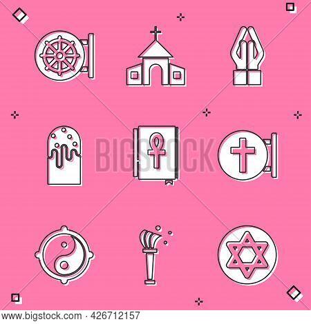 Set Dharma Wheel, Church Building, Hands Praying Position, Easter Cake, Cross Ankh Book, Christian C