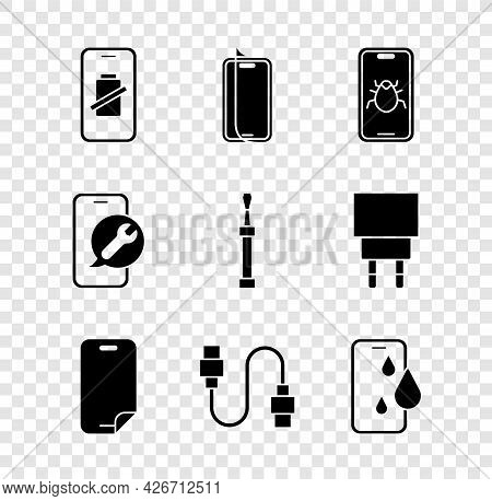 Set Smartphone Battery Charge, Glass Screen Protector, System Bug Mobile, Usb Cable Cord, Waterproof