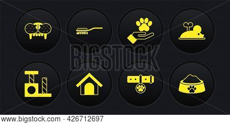 Set Cat Scratching Post, Clockwork Mouse, Dog House, Collar With Name Tag, Hands Animals Footprint,