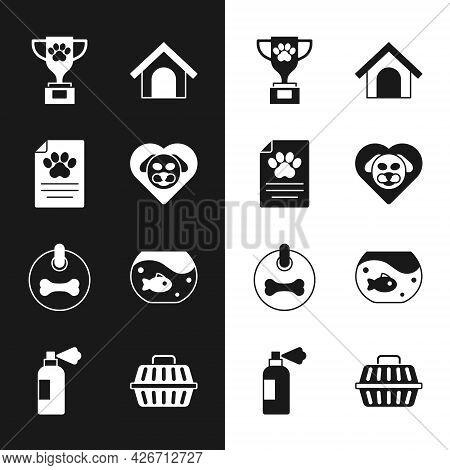 Set Heart With Dog, Clinical Record Pet, Pet Award, Dog House, Collar, Aquarium Fish, Carry Case And