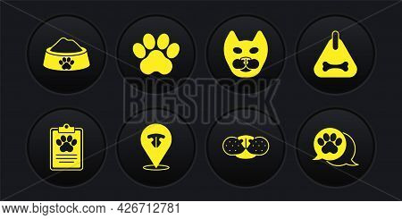 Set Clinical Record Pet, Dog Collar, Cat Nose, Paw Print, And Pet Food Bowl Icon. Vector