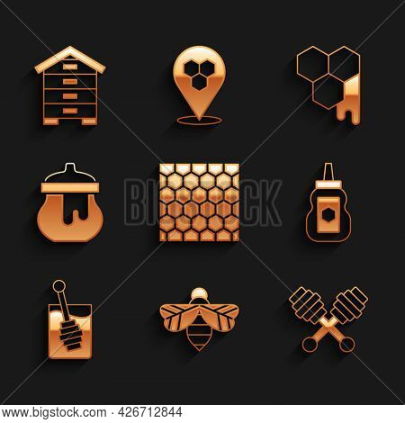 Set Honeycomb, Bee, Dipper Stick, Jar Of Honey, And Hive For Bees Icon. Vector