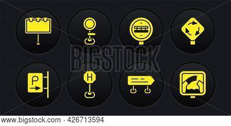 Set Parking, Roundabout Traffic Sign, Hospital Road, Road, Railroad Crossing, Drawbridge Ahead And B