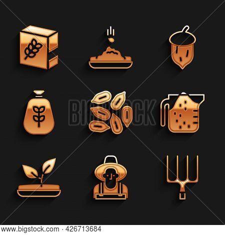 Set Seed, Farmer In The Hat, Garden Pitchfork, Measuring Cup, Sprout, Bag Of Flour, Acorn, Oak Nut,