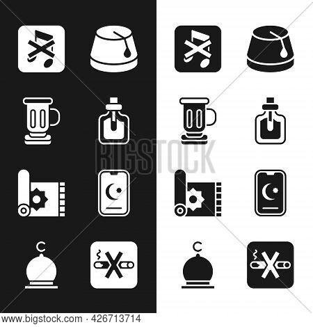 Set Perfume, Medieval Goblet, Speaker Mute, Turkish Hat, Traditional Carpet, Star And Crescent, No S