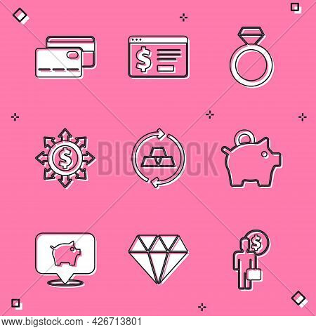 Set Credit Card, Online Banking With Dollar, Diamond Engagement Ring, Dollar, Share, Network, Gold B