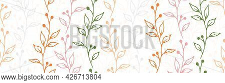 Berry Bush Branches Botanical Vector Seamless Ornament. Abstract Floral Textile Print. Grass Plants
