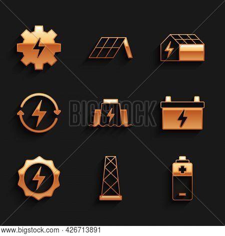Set Hydroelectric Dam, Antenna, Battery, Car Battery, Lightning Bolt, Recharging, Solar Energy Panel
