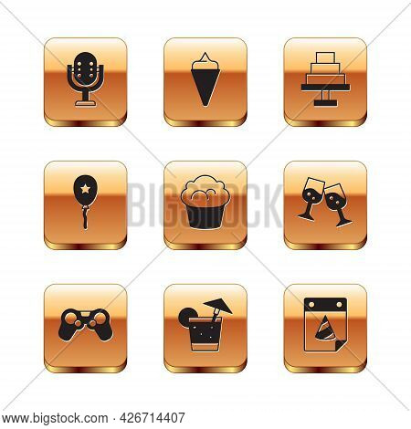 Set Microphone, Gamepad, Cocktail, Muffin, Balloon With Ribbon, Cake, Calendar Party And Ice Cream W
