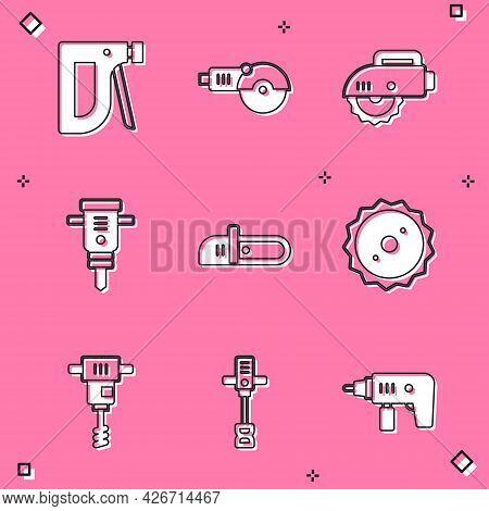 Set Construction Stapler, Angle Grinder, Electric Circular Saw, Jackhammer, Chainsaw, Circular Blade