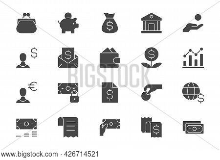 Finance Savings Simple Flat Icons. Vector Illustration With Minimal Icon - Piggy Bank, Banknote Bund