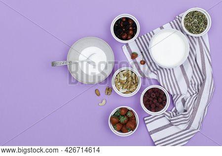 Step By Step Recipe Process Of Preparing Summer Yogurt Fruit And Berry Vegan Vegetarian Bowl.