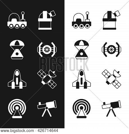 Set Cosmic Ship, Space Capsule, Mars Rover, Astronomical Observatory, Rocket, Satellite, Telescope A
