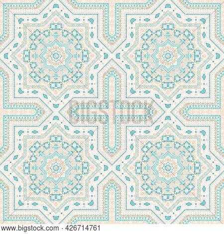 Elegant Italian Maiolica Tile Seamless Ornament. Geometric Texture Vector Patchwork. Clothes Print D
