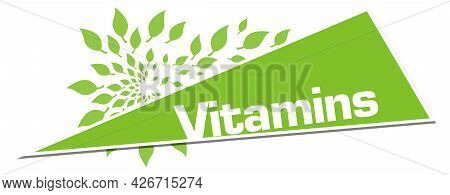 Vitamins Text Written Over Green Background With Leaves.