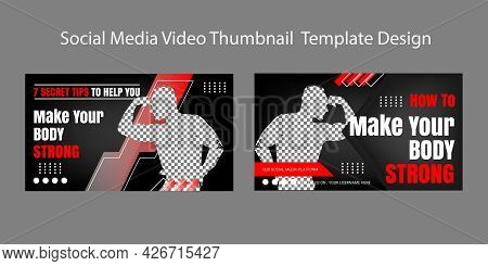 Gym And Fitness  Video Thumbnail Template Design. Workout For Beginners Live Video Content. Video Co