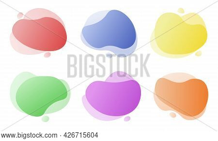 Abstract Trendy Bright Modern Gradient Graphic Elements Design. Graphic Liquid Shapes And Forms For