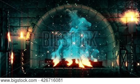 Fantasy Stone Grate Flames Lighting - Digital Object 3d Rendering