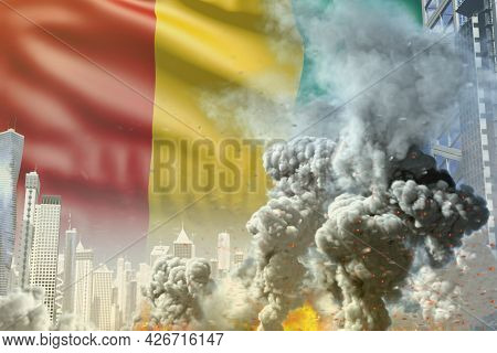 Big Smoke Pillar With Fire In Abstract City - Concept Of Industrial Accident Or Terrorist Act On Gui