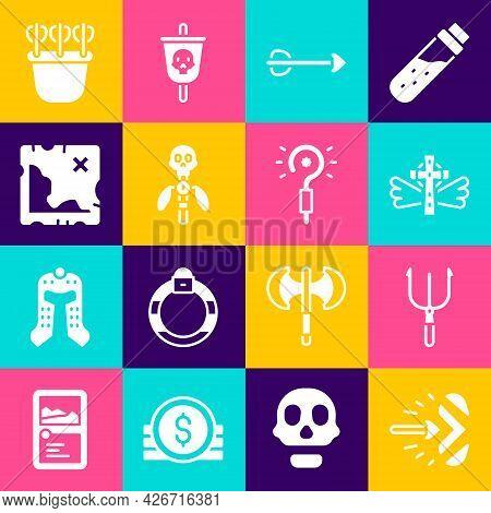 Set Magic Arrow, Neptune Trident, Christian Cross, Arrow, Staff, Pirate Treasure Map, Quiver With Ar