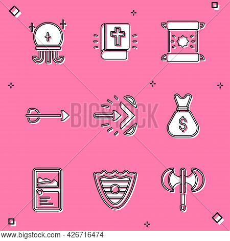 Set Magic Ball, Holy Bible Book, Decree, Parchment, Scroll, Arrow, Arrow, Old Money Bag, Card Game C