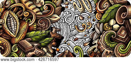 Chocolate Hand Drawn Doodle Banner. Cartoon Vector Detailed Flyer.