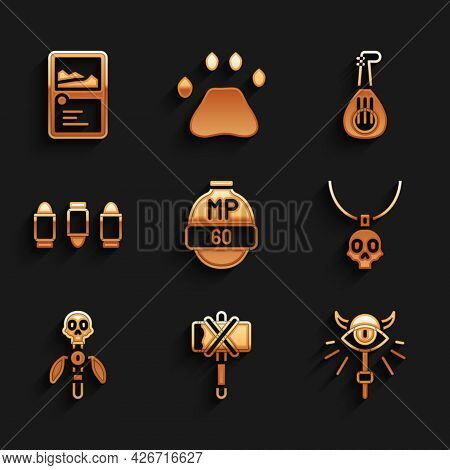 Set Video Game Bar, Medieval Axe, Magic Staff, Necklace Amulet, Bullet, Lute And Card Collection Ico