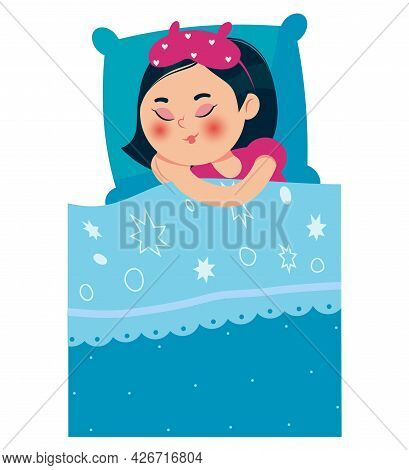 Girl Sleeping In Bed After A Pajama Party. A Girl With An Oriental Appearance. Vector Illustration.