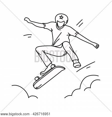 The Skateboarder Jumps. A Teenager Shows A Trick On A Skateboard. Vector Illustration Of The Outline