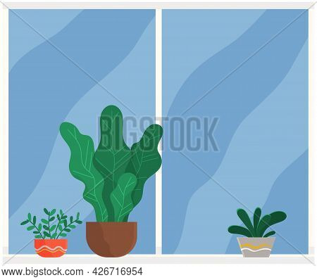 Illustration Of Living Room Window With Potted Plants On Windowsill Flat Vector Style. Inside View O