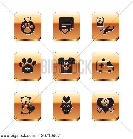 Set Heart With Animals Footprint, Donate Child Toys, Volunteer, Animal Volunteer, Veterinary Clinic,