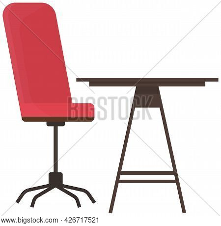 Workplace Of Company Employee. Table And Chair Isolated On White Background. Arrangement Of Furnitur