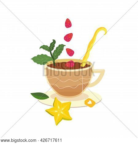 Cup Of Herbal Fruit Tea With Peppermint, Wild Strawberries And Starfruit. Vector Cup Of Tea In A Car