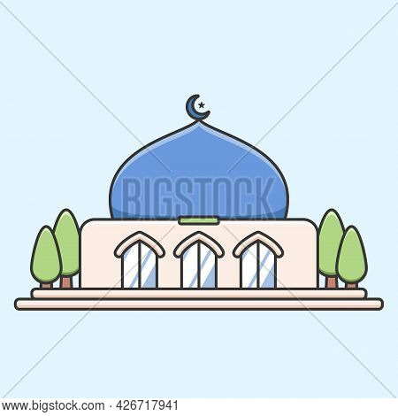 Simple Small Mosque In Cute Flat Style Illustration