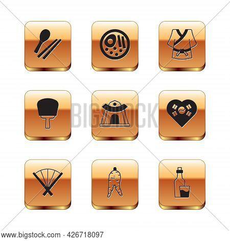 Set Food Chopsticks, Traditional Fan, Ginseng Root, Korean Temple, Hand, Kimono, Soju Bottle And Ram